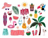 Tropiska sommarbeståndsdelar, hand dragen samling arkivfoton