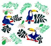 Tropiska sommardesignbeståndsdelar Isolerad tukanfåglar och trop royaltyfri illustrationer