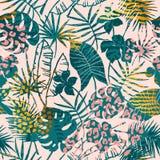 Tropiska växter för moderiktig sömlös exotisk modell, djurtryck och hand drog texturer stock illustrationer