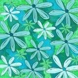 Tropiskt blad för blått och för gräsplan och blom- modelldesign Royaltyfria Bilder