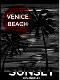 Tropiskt diagram för tappning med den typografidesignVenedig stranden Los Royaltyfri Fotografi