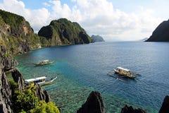 Tropiskt dröm- landskap i Palawan öar Arkivbilder