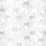 Tropiskt försilvra sidor och elefanten på vita bakgrundsseameles stock illustrationer