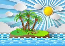 Tropiskt gömma i handflatan på ön med havet och solljus Vektor Illustratio Arkivbilder
