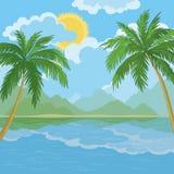 Tropiskt havslandskap med palmträd Royaltyfria Bilder