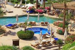 Tropiskt hotell för lyxig semesterort, Sharm el Sheikh, Egypten arkivfoto