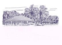 Tropiskt hotell med simbassängen royaltyfri illustrationer