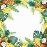 Tropiskt kort för vattenfärgvektor av frukter och palmträd som isoleras på vit bakgrund stock illustrationer