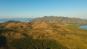 Tropiskt landskap, berg, skog, fjärd Busuanga Palawan, Filippinerna arkivfilmer