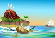 Tropiskt landskap med en vulkan och en handelsresande i en roddbåt vektor illustrationer