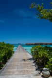 Tropiskt landskap med träbro- och vattenvillor på Maldiverna Royaltyfri Fotografi