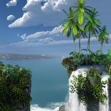 Tropiskt landskap med vattenfallet Royaltyfria Bilder