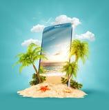 Tropiskt landskap på skärmen av smartphonen stock illustrationer