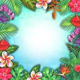 Tropiskt paradis för abstrakt sommarvattenfärg Växter för utdraget färgrikt papper för hand tropiska royaltyfri illustrationer