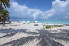 Tropiskt paradis på den norr stranden, Isla Mujeres, Mexico Arkivbild