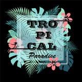 tropiskt paradis T-tröja- eller affischdesigntryck med palmblad och blommor Arkivfoto