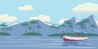 tropiskt paradis Turkoshav, ö, palmträd, yacht, vektorillustration royaltyfri illustrationer