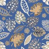 Tropiskt sömlöst modelltryck av blad, hibiskusen och växter i vektor royaltyfri illustrationer
