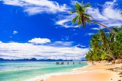 Tropiskt strandlandskap - lösa härliga stränder av Filippinerna, arkivfoto