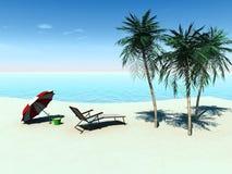 tropiskt strandstolsdäck vektor illustrationer