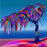 Tropiskt träd, målat glassfönster Royaltyfri Foto