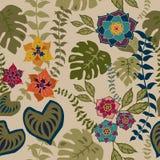 Tropival花卉无缝的样式,秋天花浮出水面纺织品设计的样式背景浪漫花卉重复样式 皇族释放例证