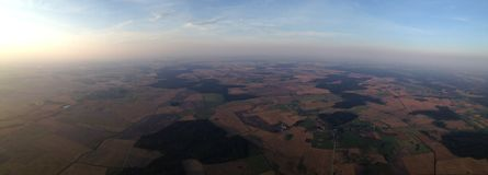 Troposphere. Magnificent view of typical Lithuanian landscape. The photo was taken from hot air balloon at the altitude of about 1000 meters Royalty Free Stock Photography