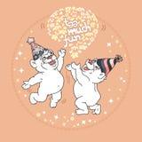 Troppa carta di divertimento con due orsi svegli illustrazione vettoriale