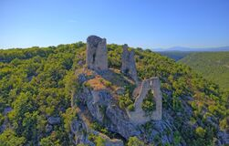 Free Trosenj Fortress Remains On The West Side Of Mountain Promina In Croatia, Aerial Royalty Free Stock Image - 179269306