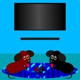 Troskliwa para miniatura psy z szczeniakami ilustracji