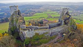 Trosky - aerial drone skyline view of ruin of castle royalty free stock photos