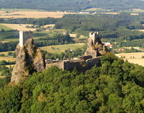 Trosky castle - air photo. Old towers on top of volcanic rock cliff, Trosky castle, Czech Republic Stock Photo