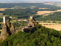 Trosky castle - air photo. Old towers on top of volcanic rock cliff, Trosky castle, Czech Republic Stock Photos