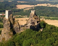 Trosky castle - air photo. Old towers on top of volcanic rock cliff, Trosky castle, Czech Republic Stock Images