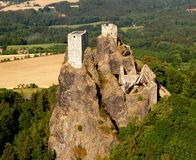 Trosky castle - air photo. Old towers on top of volcanic rock cliff, Trosky castle, Czech Republic Stock Photography