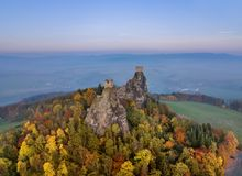 Trosky Castle in Bohemia paradise - Czech republic - aerial view Stock Image