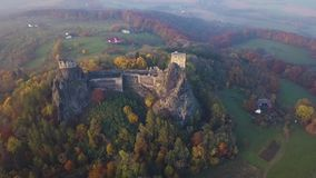 Trosky Castle in Bohemia paradise - Czech republic - aerial view stock footage