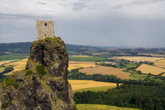 Trosky castle in Czech republic. Yellow and green fields Stock Photography