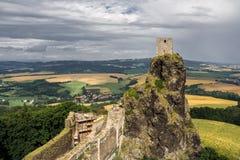 Trosky castle in Czech republic. Yellow and green fields Stock Image