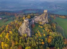 Trosky Castle In Bohemia Paradise - Czech Republic - Aerial View Stock Photography