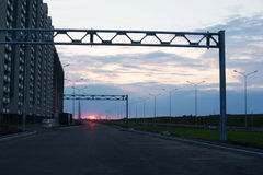 Trostlose Landschaft mit Sonnenuntergang Stockfotos