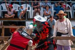 TROSTYANETS, UKRAINE - JUNE 30, 2018: knights tournament festival fight on arena. TROSTYANETS, UKRAINE - JUNE 30, 2018: knights tournament festival fight on the stock image
