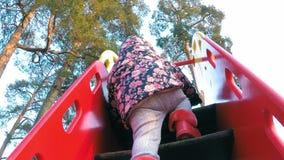 Troszkę wspina się kroki na barwiącym wzgórzu w wiosna parku przeciw tłu dziewczyna w kwitnącej kurtce zbiory