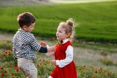 Troszkę chłopiec daje kwiaty dziewczyna Pojęcie miłość zdjęcia royalty free