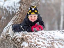 Troszkę chłopiec lying on the beach na wielkim spadać drzewie w zimie obraz stock