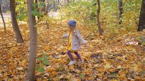 Troszkę chodzi w parku w spadku śliczna mała dziewczynka zdjęcie wideo