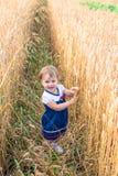 Troszkę dotyka ręka ucho banatka w polu w lecie dziewczyna Fotografia Stock