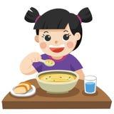 Troszkę dziewczyna szczęśliwa jeść polewkę ilustracja wektor