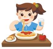 Troszkę dziewczyna szczęśliwa jeść spaghetti ilustracji