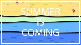 Troszkę futurystyczny plakatowy projekt dla zbliża się lata, plażowego sezon, sezon wakacyjny, zabawa, rozrywka i udziały, ilustracji
